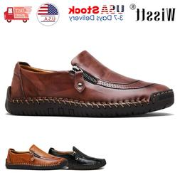 Men's Slip On Leather Zipper Casual Driving Shoes Loafers Mo