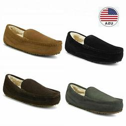 Men's Suede sheepskin fur Moccasin Slippers Loafers Moc Toe