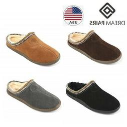 DREAM PAIRS Men's Winter Warm Home Slippers Leather Indoor C