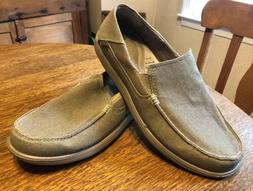 Crocs Mens 15M Canvas Slip Ons Khaki Loafers Santa Cruz 2 Lu