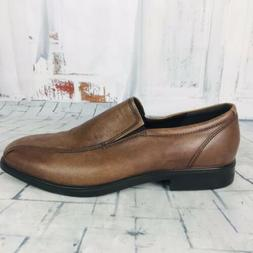 Ecco Mens Brown Leather Loafers Slip On Shoes Casual Dress S