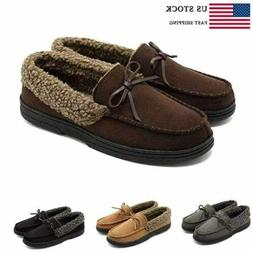 Mens Fur Lined Flat Shoes Suede Loafer Soft Rubber Sole Driv