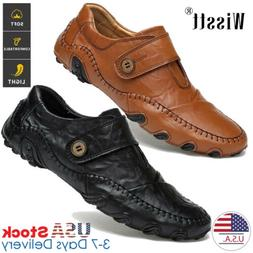 Mens Genuine Leather Casual Slip on Shoes Antiskid Driving L
