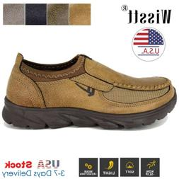 Mens Leather Casual Shoes Breathable Antiskid Loafers Slip o