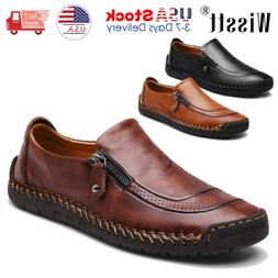 Mens Leather Zipper Shoes Breathable Antiskid Loafers Drivin