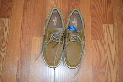 Margaritaville Men's Anchor Lace Boat Shoe, Light tan, 10.5