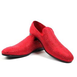Mens Red Slippers Slip On Loafers Dress Shoes Studded Rhines