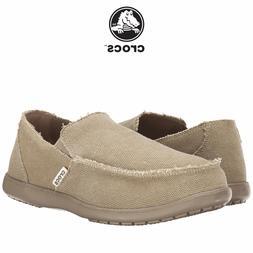 Mens Crocs Santa Cruz Fashion Loafer Khaki Canvas Casual Bea