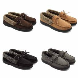 Mens Slip On Loafer Winter Fur Lining Suede Flat Shoes Mocca