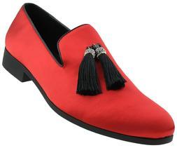 Amali Mens Smoking Slippers Tuxedo Slip On Dress Shoes Satin