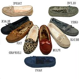 Moccasins Women Slip On Indoor Outdoor Shoe Slipper Fur Loaf