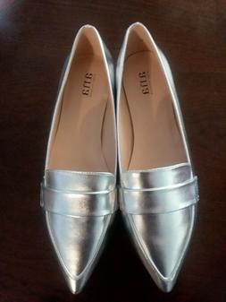 NEW ANA GLEN SILVER FLATS LOAFERS SIZE 8M