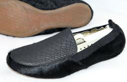 NEW YOSI SAMRA 'Ariel' Flats Black Leather Calf Hair Fur Loa