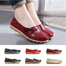 New Fashion Women Leather Shoes Loafers Soft Flats Female Ca