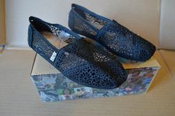 New in Box Toms Women's Classics Black Morocco Crochet Flats