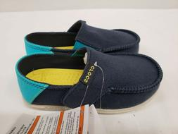 New Crocs Kids Santa Cruz Slip on Loafers, Navy Blue, Size 8