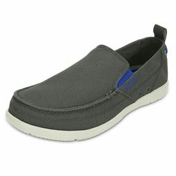 Crocs Men's Walu Accent Casual Slip On Loafer, Gray/ blue ac