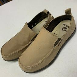 NEW Crocs Mens10 Walu Slip-On 11270 canvas deck shoe brown k