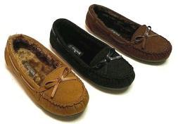 New Moccasins Women Slip On Indoor-Outdoor Shoe Slipper Fur