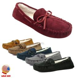 New Women Moccasins Faux Suede Fur Slip On Slippers House Sh