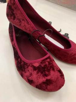 New Women's Smoking Loafer Slipper Velvet wine red Juniors