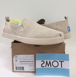 New TOMS Womens 11 Deconstructed Alpargata Natural Metallic