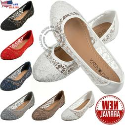 New Womens Cute Lace Crochet Ballet Flat Comfy Slip On Loafe