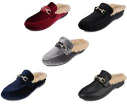 NEW Womens Ladies Mule Loafers Open Back Shoes With Faux Fur
