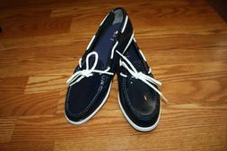 NEW Womens COLE HAAN Nantucket Camp Moccasin Shiny Navy Dres