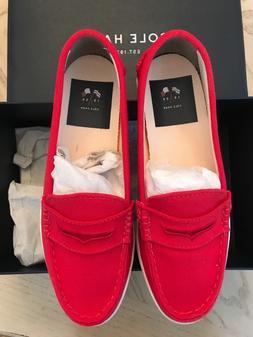 NIB Cole Haan Women Red Canvas Nantucket Platform Loafer Fla