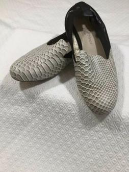 NWOB YOSI SAMRA Preslie Loafers Faux Snake Alligator Black W