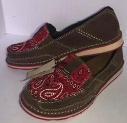 NWT ARIAT CRUISER Suede Red Bandana Print Loafer 10023014