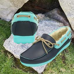 NWT CROCS Wrap Colorlite Women's Fur Lined Loafers Blue  SEL