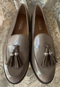CALVIN KLEIN PATENT LEATHER TAUPE LOAFERS WITH TASSELS SIZE