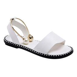 HHei_K Women Pure Color Pearl Flats Fashion Round Toe Loafer
