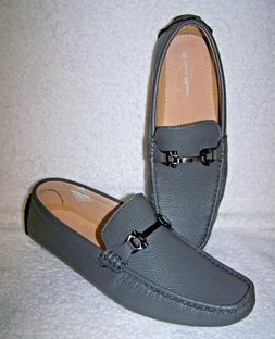 Bruno Marc New York Pepe Gray Pebbled Leather Driver Loafer