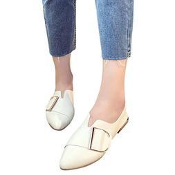 kaifongfu Point Toe Single Shoes Women Casual Flat Slip-On S