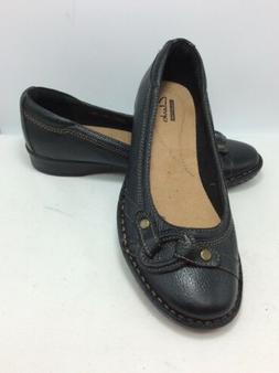 """Clarks """"Recent Alley"""" Black Leather Slipon Loafer Flats"""
