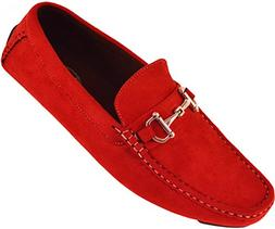 Amali Mens Red Plush Microfiber Loafer Driving Shoe with Sil
