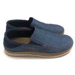 Crocs Santa Cruz Playa Slip On Shoes Blue Canvas 204835-4FT