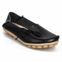 Shibever Women'S Leather Loafers Moccasins Wild Driving Casu