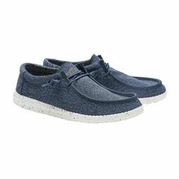 Hey Dude Shoes Mens Wally Sox Micro Steel Blue Slip On Loafe