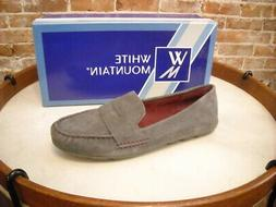 White Mountain Skipper Grey Suede Mocassin Loafers NEW