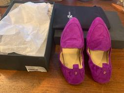 Yosi Samra Skyler loafers, NIB,  purple suede, size 6, folda