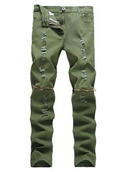 Men's Slim Fit Pencil Pants Vintage Zipper Denim Distresse