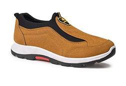 ALLAK Slip-On Shoes, Men Hand Stitching Microfiber Leather N