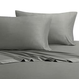 Solid Gray Top-Split-King: Adjustable King Bed Size Sheets,