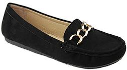 Bella Marie Women's Sueded Slip On Moccasin Loafer  US, Blac