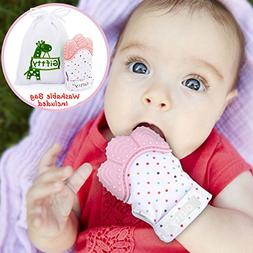 Baby Teething Mitten by Giftty, Self Soothing Teether & Teet