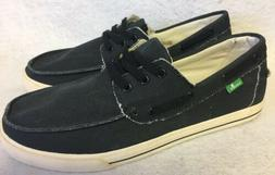 Sanuk The Sea Man Black Washed Lace Up Boat shoes Loafers si